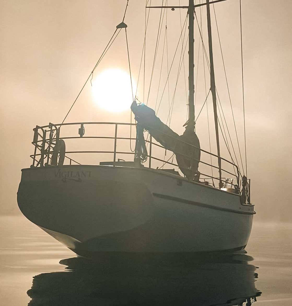 Bowsprit and Anchor chain of Vigilant Yacht